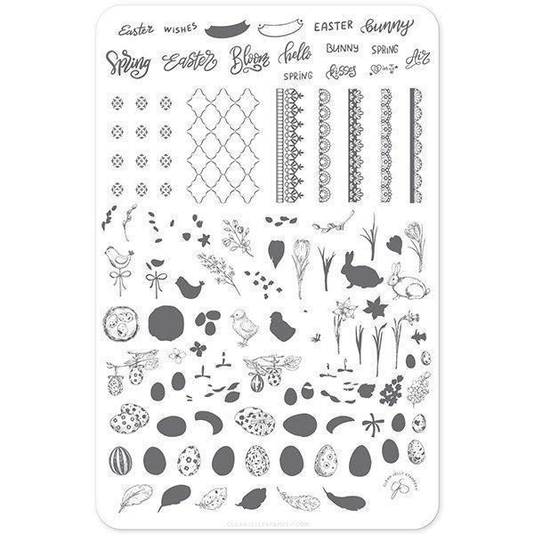Bunny Kisses (CJSH-29) - Stampingplade, Clear Jelly Stamping