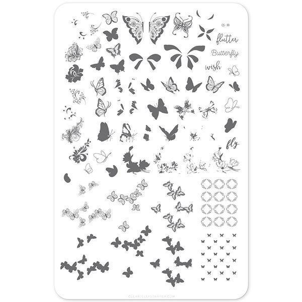 Image of Butterfly Wishes (CjS-80) Stampingplade, Clear Jelly Stamper