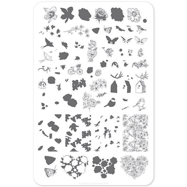 Image of Delicate Garden (CjS-58) - Stampingplade, Clear Jelly Stamper