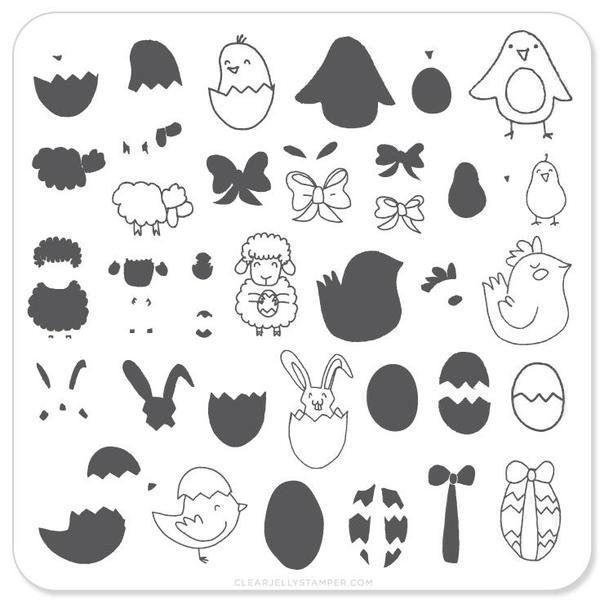Image of   Easter 3 (CjSH-08), stampingplade, Clear Jelly Stamper