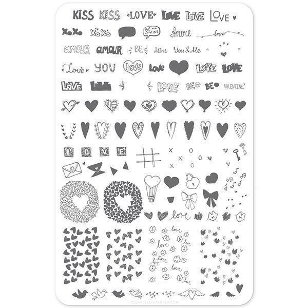 LoVe Notes (CjSV-12) - Stampingplade, Clear Jelly Stamper