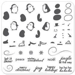 Penguins and Christmas Cheer (CjSC-03), stampingplade, Clear Jelly Stamper