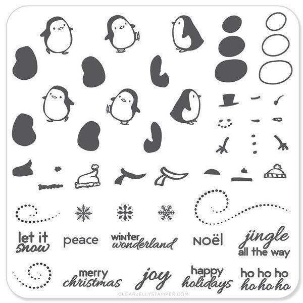 Image of   Penguins and Christmas Cheer (CjSC-03), stampingplade, Clear Jelly Stamper