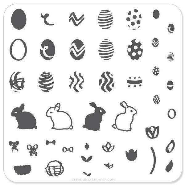 Image of   Peter Cottontails Easter Eggs (CjSH-02), stampingplade, Clear Jelly Stamper