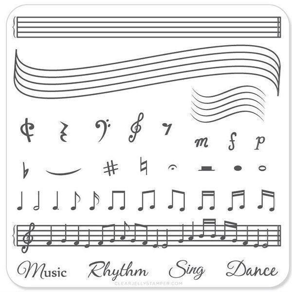 Music & Notes (CjS-11), Clear Jelly Stamper, stampingplade
