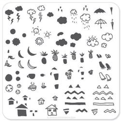 doodles Drinks & Fruit (CjS-18), Clear Jelly Stamper, stampingplade