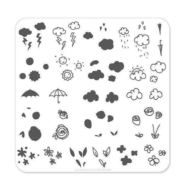 Flower & Sky Doodle (CjS-21) - Stampingplade