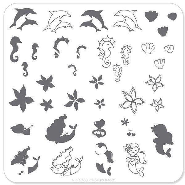 mermaid & Doodles 2 (CjS-25), Clear Jelly Stamper, stampingplade