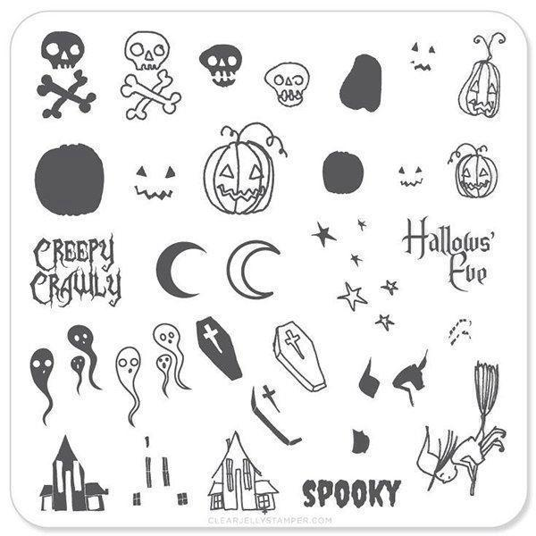 Image of   Spooky Halloween (CjSH-05), Clear Jelly Stamper, stampingplade