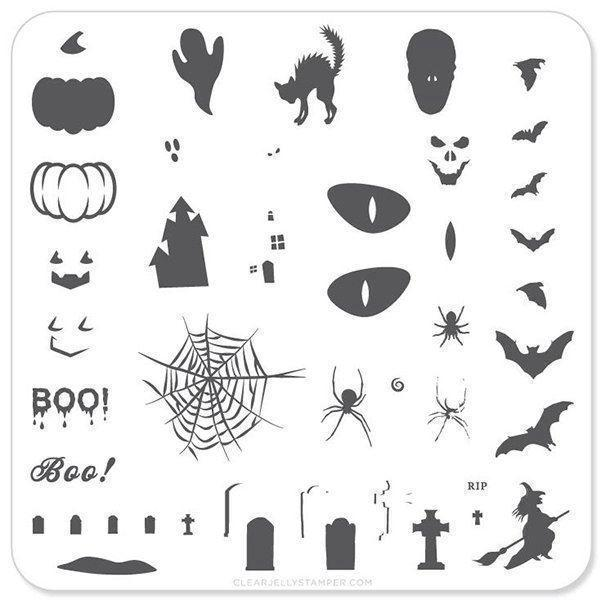 Image of Boo Halloween (CjSH-06), Clear Jelly Stamper, stampingplade