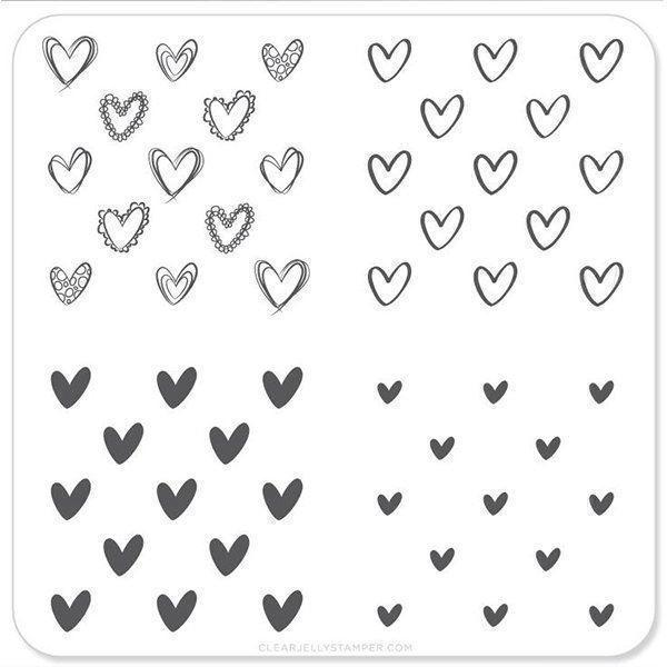 Super Cute Hearts (CjSV-02), Clear Jelly Stamper, stampingplade