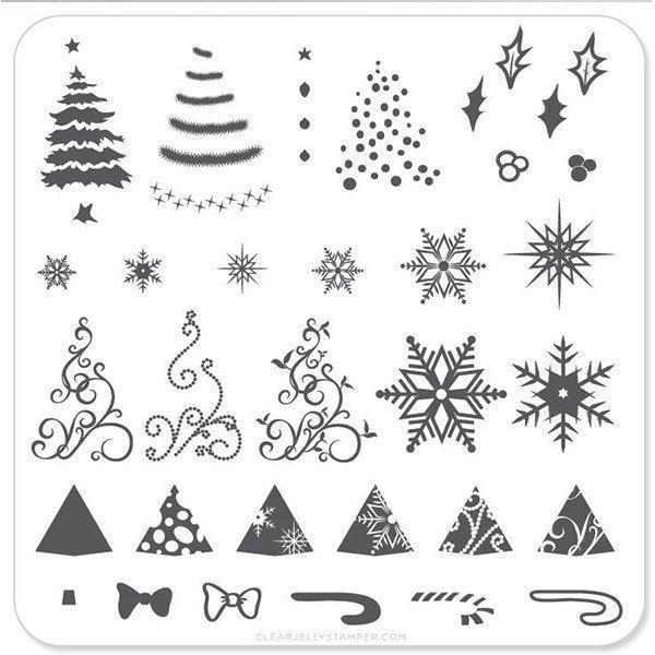 Christmas Tree (CjSC-01), Clear Jelly Stamper, stampingplade