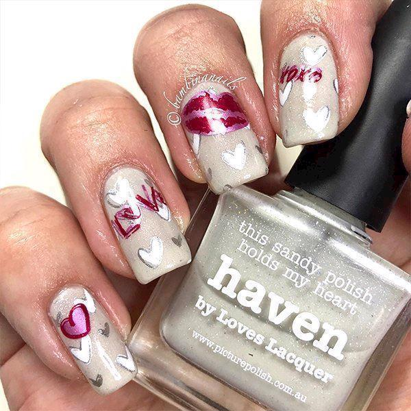 Step By Step stamping nail art - Valentines day
